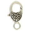 Lobster Clasp 26mm Fancy Heart Pattern Antique Silver
